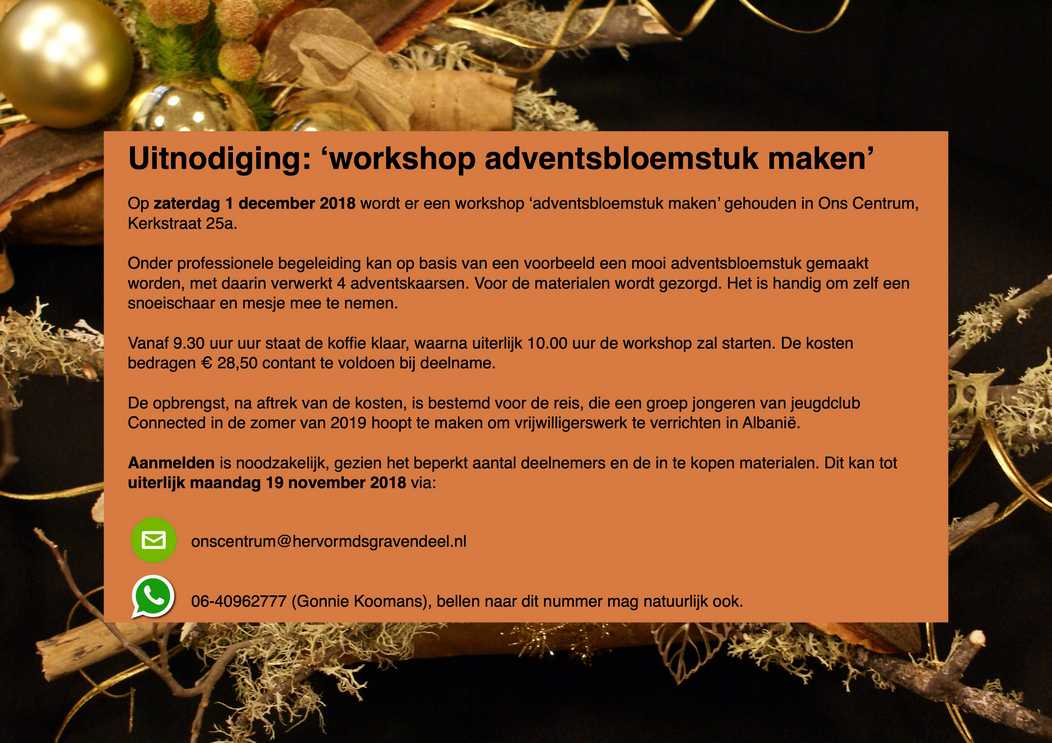 20181201 Flyer workshop adventbloemstuk maken
